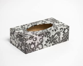 Black Lace Tissue Box Cover handmade wooden perfect gift