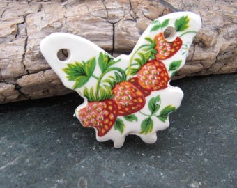 Strawberry Ceramic Butterfly Pendant