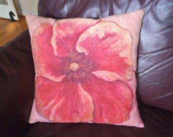 Art on a Pillow Linen & Cotton Pillow Cover Hibiscuss Flower by Karen Storay