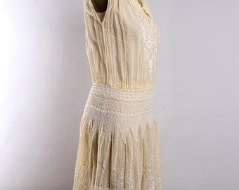 1920's Antique Embroidered light yellow voile cotton dress | Hungarian | Hand sewn| Small- Med