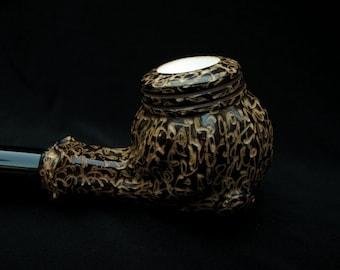 Brown Floral Turkish Block Meerschaum Pipe Acrylic Stem Free Hand Case, Big 5214