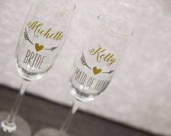 Personalized bridesmaids wine glasses by WaterfallDesigns on Etsy
