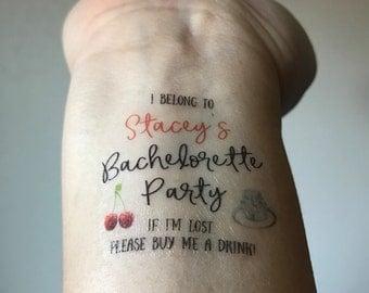 10 Bachelorette Party Temporary Tattoos, Buy Me A Drink & Bride Tattoo - Custom