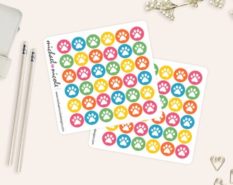 Paw Print Stickers, Vet Stickers, Pet Stickers, Dog Stickers, Cat Stickers| Gumball Theme | Item MP-040
