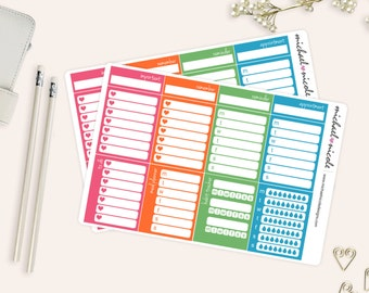 Routine Sidebar Box Planner Stickers, To Do, Hydration, Meal Planner | Item MP-044