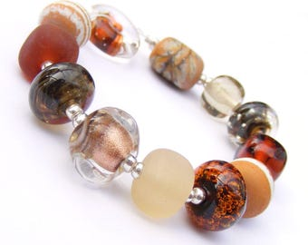 Lampwork orphans - glass bead set of 12 mainly brown and orange renegade beads