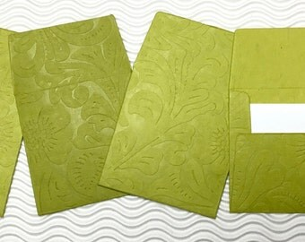 6 teeny tiny envelopes miniature mini note sets square green embossed stationery handmade paper party favor weddings guest book table number