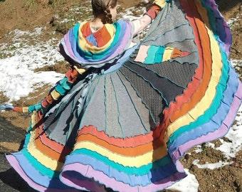 AVAILABLE NOW!!! Pastel Rainbow Unicorn Patchwork  Pandoras Kloset  Upcycled Sweater Coat