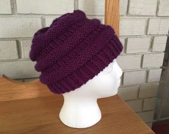 Hand knit beanie/ CC style/ purple-mulberry color/brava acrylic/ slightly slouchy