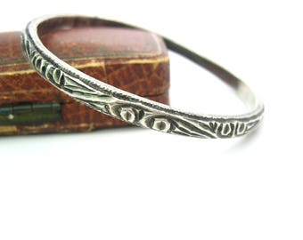 Moroccan Jewelry. Tribal Hand Made Bangle. 800 Silver Bracelet. Deeply Carved Ethnic Design. Narrow, Weighty 1+ oz. Vintage African Jewelry