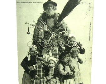 Antique Christmas Postcard. French Santa Père Nöel Card. Wicked Children, Brittany Costume. 1900s Photo Belsnickle Collectible Décor