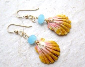 Sunrise Shell Earrings, Small Rare Hawaiian Shells, Gold Wire Wrapped, Orange, Pink, Hawaii Beach Jewelry, Mermaid Jewels, Christmas Gift