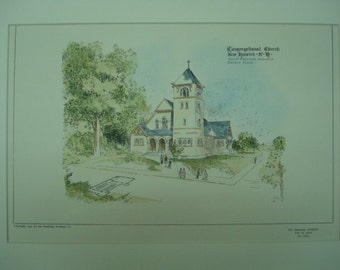 Congregational Church, New Ipswich, New Hampshire, 1904, Gay & Proctor, Architects. Hand Colored, Original Plan, Architecture, Vintage