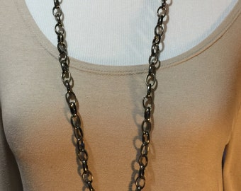 Long gunmetal chain necklace, heavy gunmetal chain necklace