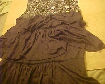 Kiddo USA vintage 20s 30s dance dress Rhinestone and beads silk chiffon flapper dress
