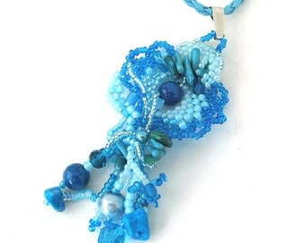 SALE Blue pendant necklace, Beaded necklace, Freeform peyote, Gift for her, Seed bead necklace, Turquoise blue