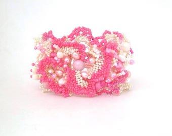 Pink Bracelet, Pink beaded jewelry, Beaded cuff bracelet, Seed bead jewelry,  Freeform peyote bracelet, Boho bracelet, Gift for women