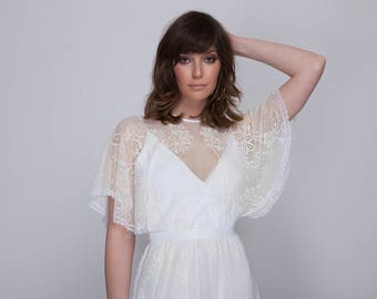 Bohemian lace wedding dress, wedding lace dress, white lace wedding dress, Barzelai wedding dress