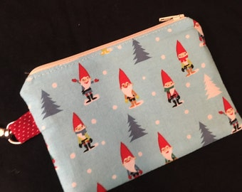 Holiday Gnomes or Elves Zippered Pouch with Swivel Clasp - coin purse, gnome gift, stocking stuffer, holidays, teacher gift