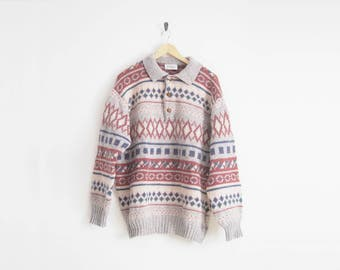 90s United Colors of Benetton Sweater. Wool Sweater. Knit Sweater. Fair Isle Nordic Sweater with Half Button. Cozy Oversized Sweater.