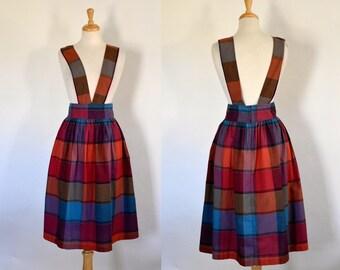 70s Plaid Cotton Suspender Midi Skirt