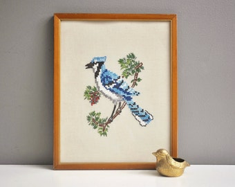Vintage Blue Jay Crewel Wall Hanging