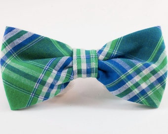 Preppy Green and Blue Madras Plaid Dog Bow Tie