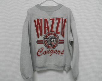 vintage WSU Courgars Sweatshirt 90s WAZZU XL Washington State University college sports crewneck shirt Bledsoe 80s 50/50
