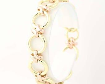 """Circle Link Bracelet 7 1/4"""" - 14k Yellow Gold Spring Ring Clasp Women's N8743"""