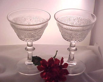 Vintage Sandwich Champagnes or Tall Sherbets by Duncan Miller (2), Mid Century Crystal Toasting Stemware, 1940s Elegant Dinnerware Desserts