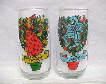 9th & 10th Day Glasses From 12 Days of Christmas Series, Pepsi Round Bottom Collectible Holiday Glass Pair Ladies Dancing  and Lords Leaping