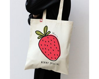 Personalised 'Strawberry' Tote Bag