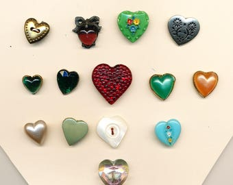 Vintage Buttons - Lot of Heart Shaped Buttons in a Variety of Materials