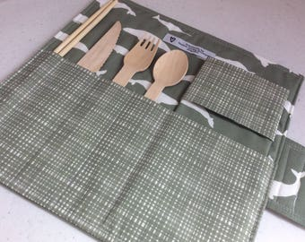 Picnic Utensil Roll - Camping Cutlery Roll - Reusable Cutlery Roll Up - Office Lunch Set - Eco Friendly - Placemat
