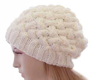Slouchy beanie  oversized beanie hat winter knit hat for woman in ivory  -COLOR OPTION  AVAILABLE