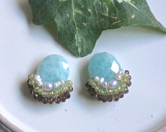 Gemstone cluster earrings - multi stone studs