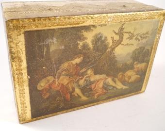 Trinket Box Keepsake Florentine Italy Gold Picture Victorian