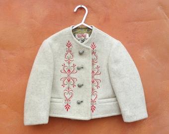 Vintage Toddler Baby Boys' Girl's unisex Austrian BOOS Embroidered Wool Jacket Coat. Bavarian Oktoberfest Size 18 months 2T 24 months