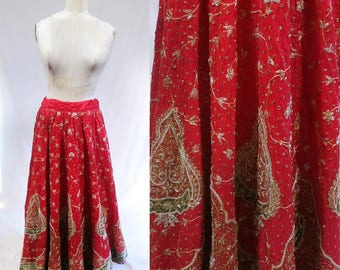 Heavily embroidered beaded Vintage Indian India Maxi Skirt. Metallic Trim & Thread. Red Gold. boho gypsy bohemian. party cocktail wedding