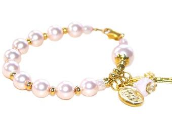 Catholic Baby Bracelet / Rosary Bracelet for Baby Girl / Baptism Gift / Godparent Gift