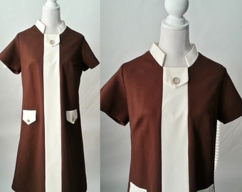 Vintage 1970s Brown and White Polyester Dress, Large Size