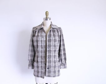 COAT SALE Vintage 60s Plaid Jacket, Beige Jacket Fitted Jacket, Small 1960 Vintage Jacket