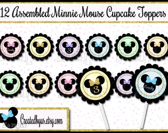 Minnie Cupcake Toppers Minnie Birthday Decorations Custom cupcake picks Gold cake topper Personalized Girl Birthday cupcake top 12 assembled