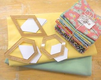 EPP Jeweled Starflower starter kit featuring bella solids and feedsack starter bundle