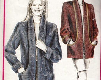 "Women's Sewing Pattern Cardigan Jacket UNCUT Bust 30-46"" Plus Size Stretch & Sew 830"