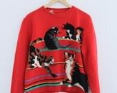 1990s Cat Sweater Red Crewneck Stripes Kitties Susan Bristol Womens Vintage Medium