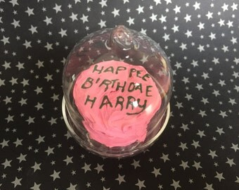 Little Cake in Glass Cake Stand - Harry Potter Inspired Birthday Cake - Polymer Clay Sculpture - Keepsake - Art by Sarah Price