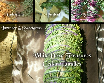 "Cedar Smudge Bundle - Herbal Blend Homemade Fresh ~ Choices Rose Calendula Bay Leaf Lavender Sweetgrass - New Mexico Harvest 7"" Fat"