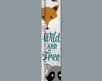 Woodland Animal Tribal Wild and Free Arrows Canvas Height Growth Chart