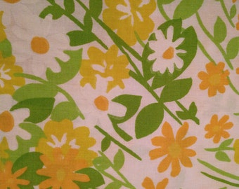 Daisies in Orange, Yellow and White on Vintage Sheet Fat Quarter